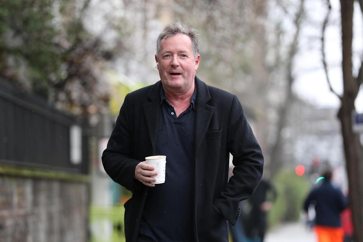 Piers Morgan returns to his home in Kensington, central London, the morning after it was announced by broadcaster ITV that he was leaving as a host of Good Morning Britain. Picture date: Wednesday March 10, 2021. (Photo by Jonathan Brady/PA Images via Getty Images)