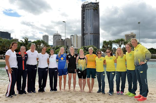 BRISBANE, AUSTRALIA - APRIL 15: (L-R) Mary Joe Fernandez, Bethanie Mattek-Sands, Coco Vandeweghe, Madison Keys, Christina McHale, Australian Cricket player Holly Ferling, AFL player Tayla Harris, Former Olympic Swimming Gold medalist Jessica Schipper, Former Olympic Beach Volleyball Gold medalist Natalie Cook, Arina Rodionova, Casey Dellacqua, Daria Gavlirova, Samantha Stosur and Alicia Molik pose for a photo during the official draw for the Fed Cup tie between Australia and the United States at Soutbank on April 15, 2016 in Brisbane, Australia. (Photo by Bradley Kanaris/Getty Images)