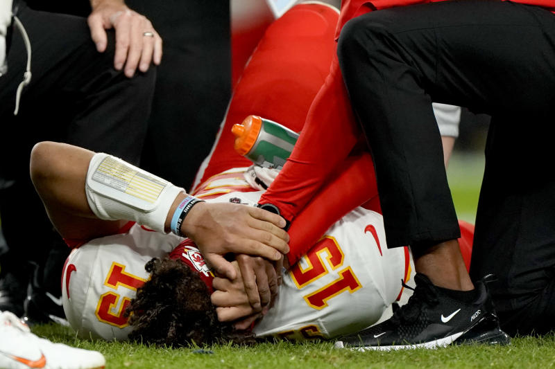 Kansas City Chiefs quarterback Patrick Mahomes (15) missed two games after an October knee injury. (AP Photo/Jack Dempsey)