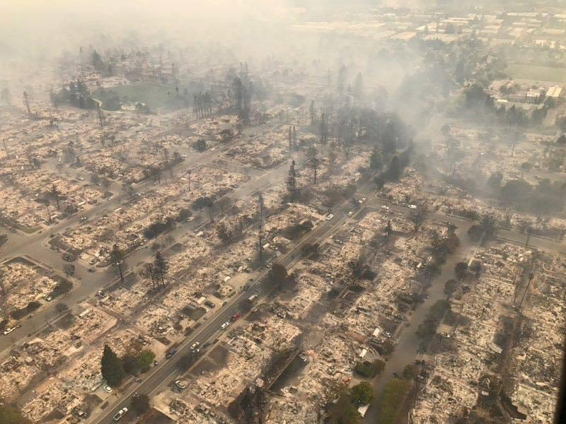 An aerial photo of the devastation from the North Bay wildfires north of San Francisco. (Handout/Reuters)