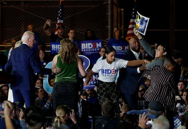 PHOTO: Protesters appear during democratic presidential candidate and former Vice President Joe Biden's Super Tuesday night rally in Los Angeles, March 3, 2020. (Mike Blake/Reuters)