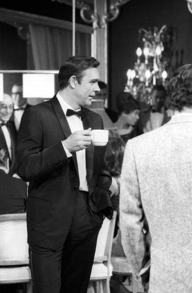 <p>Sean Connery prepares himself to shoot the casino scene in 'Thunderball', 1965.</p>
