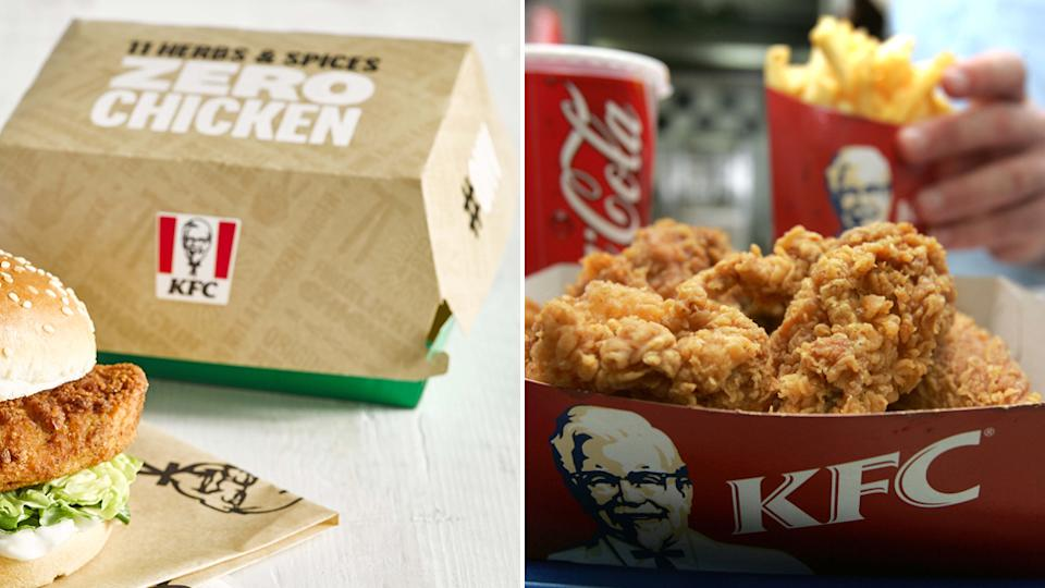 The KFC vegan packaging (left) of green and beige next to a burger, and the standard packaging for the chicken range (right) of red and white with fried chicken and chips inside.