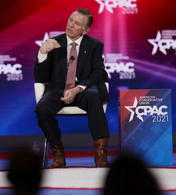 Rep. Paul Gosar (R-AZ) speaks during a panel discussion about the Devaluing of American Citizenship during the Conservative Political Action Conference held in the Hyatt Regency on February 27, 2021 in Orlando, Florida. Begun in 1974, CPAC brings together conservative organizations, activists, and world leaders to discuss issues important to them. (Photo by Joe Raedle/Getty Images)