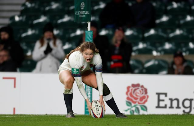 Rugby Union - Women's International - England vs Canada - Twickenham Stadium, London, Britain - November 25, 2017 England's Jess Breach scores her fifth try Action Images via Reuters/Paul Childs