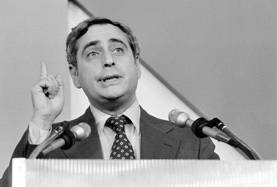 FILE - This June 24, 1978 file photo shows NBC President Fred Silverman speaking in Los Angeles. Silverman, who steered programming for each of the Big Three broadcast networks, died Thursday, Jan. 30, 2020, at his Los Angeles area home. He was 82. (AP Photo, File)