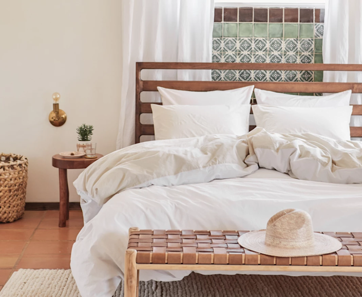 """<h3><strong>Parachute Home</strong> </h3> <br><br><strong>Best For: Sustainable Basics<br></strong>For premium quality bedding to bath essentials, rugs, decor, and more, Parachute has been hitting the direct-to-consumer market nail on the head since it first launched in 2014. The U.S.-crafted goods use ethically-sourced materials free of harmful chemicals or synthetics, and the company also partners with the <a href=""""https://nothingbutnets.net/"""" rel=""""nofollow noopener"""" target=""""_blank"""" data-ylk=""""slk:United Nation's Nothing But Nets"""" class=""""link rapid-noclick-resp"""">United Nation's Nothing But Nets</a> initiative for malaria-prevention in areas of need. As the founder and CEO, Ariel Kay, puts it, """"we're committed to providing you with exceptional everyday essentials that make you feel at home.""""<br><br><strong><em><a href=""""https://www.parachutehome.com/"""" rel=""""nofollow noopener"""" target=""""_blank"""" data-ylk=""""slk:Shop Parachute Home"""" class=""""link rapid-noclick-resp"""">Shop Parachute Home</a></em></strong><br><br><strong>Parachute</strong> Brushed Cotton Venice Set, $, available at <a href=""""https://go.skimresources.com/?id=30283X879131&url=https%3A%2F%2Fwww.parachutehome.com%2Fproducts%2Fvenice-set-brushed-cotton"""" rel=""""nofollow noopener"""" target=""""_blank"""" data-ylk=""""slk:Parachute"""" class=""""link rapid-noclick-resp"""">Parachute</a><br><br><br><br>"""
