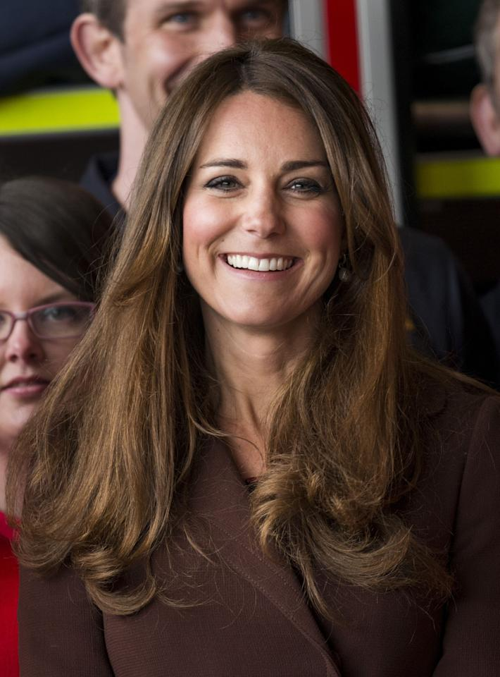 GRIMSBY, ENGLAND - MARCH 05:  Catherine, Duchess of Cambridge at Humberside Fire and Rescue Service, Peaks Lane Fire Station during her official visit on March 5, 2013 in Grimsby, England.  (Photo by Mark Cuthbert/UK Press via Getty Images)