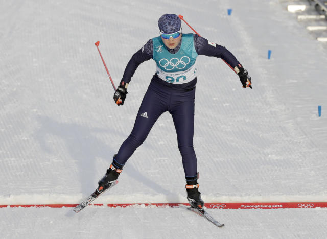 North Korea's Ri Yong-gum finishes 89th out of 90 in the women's 10-kilometer free race at the 2018 Winter Olympics in PyeongChang, South Korea.