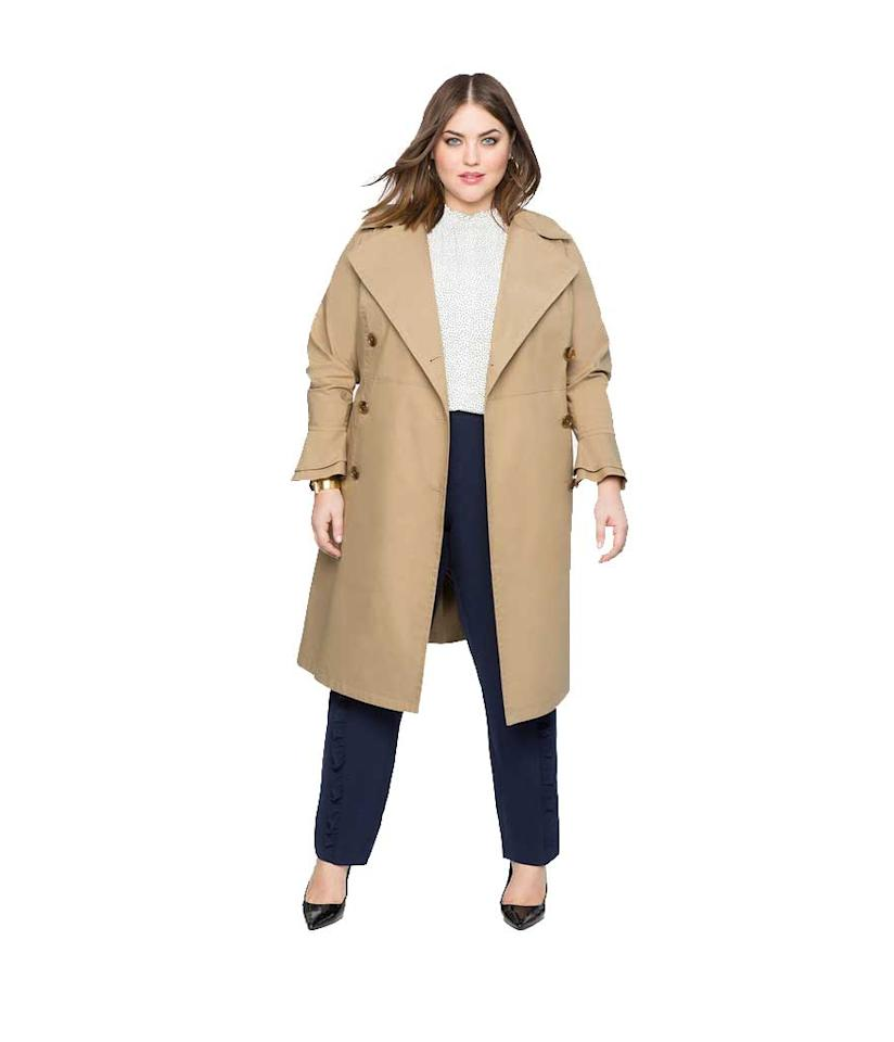 """<p>Pretty ruffled sleeves—and a discount code—make this a super-sweet deal! Use code <strong>OCTOBERFEST</strong> for 40% off!<br />Ruffle Sleeve Trench Coat, $150,<a rel=""""nofollow"""" href=""""https://fave.co/2yLoBQn""""> eloquii.com</a> </p>"""