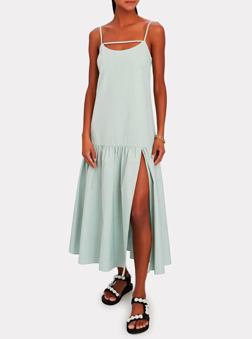"""Let the thoughtful detailing on this poplin style do the talking, and pair with adorned flatforms when temps are scorching. $328, Intermix. <a href=""""https://www.intermixonline.com/intermix/isla-sleeveless-poplin-midi-dress/AFD284-1-EXCL.html"""" rel=""""nofollow noopener"""" target=""""_blank"""" data-ylk=""""slk:Get it now!"""" class=""""link rapid-noclick-resp"""">Get it now!</a>"""