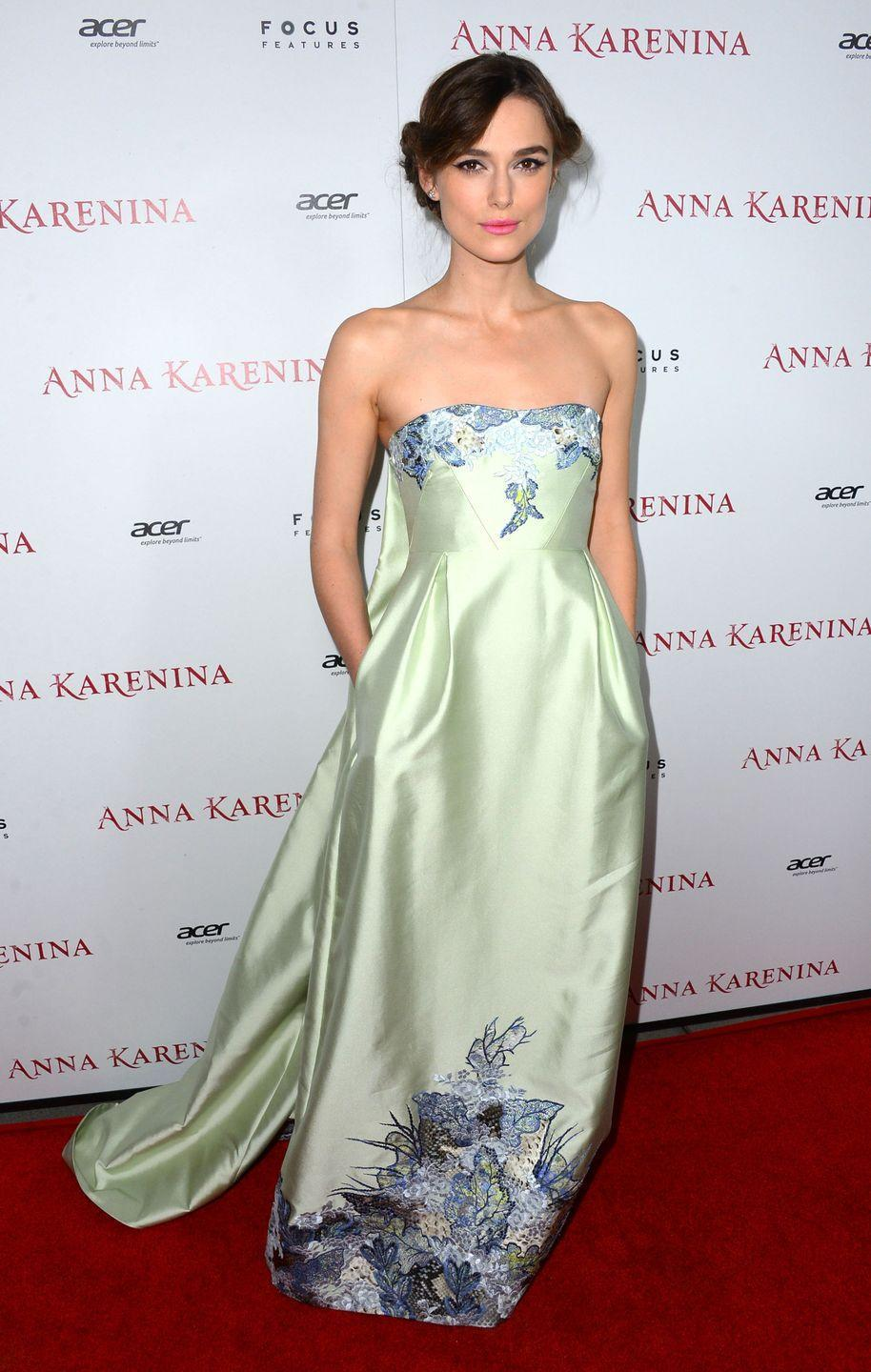 <p>Keira Knightley looked like a princess in a green strapless gown with floral embroidery at the premiere of <em>Anna Karenin</em><em>a</em> in 2012.</p>