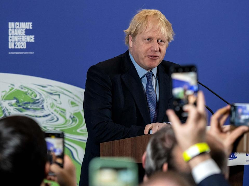 <p>Boris Johnson during the launch of the UK-hosted Cop26 UN climate summit</p> (Getty)