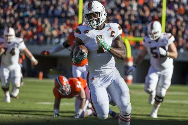 "RB <a class=""link rapid-noclick-resp"" href=""/ncaaf/players/252697/"" data-ylk=""slk:Mark Walton"">Mark Walton</a> ran for 1,117 yards and 14 touchdowns in 2016. (Getty)"