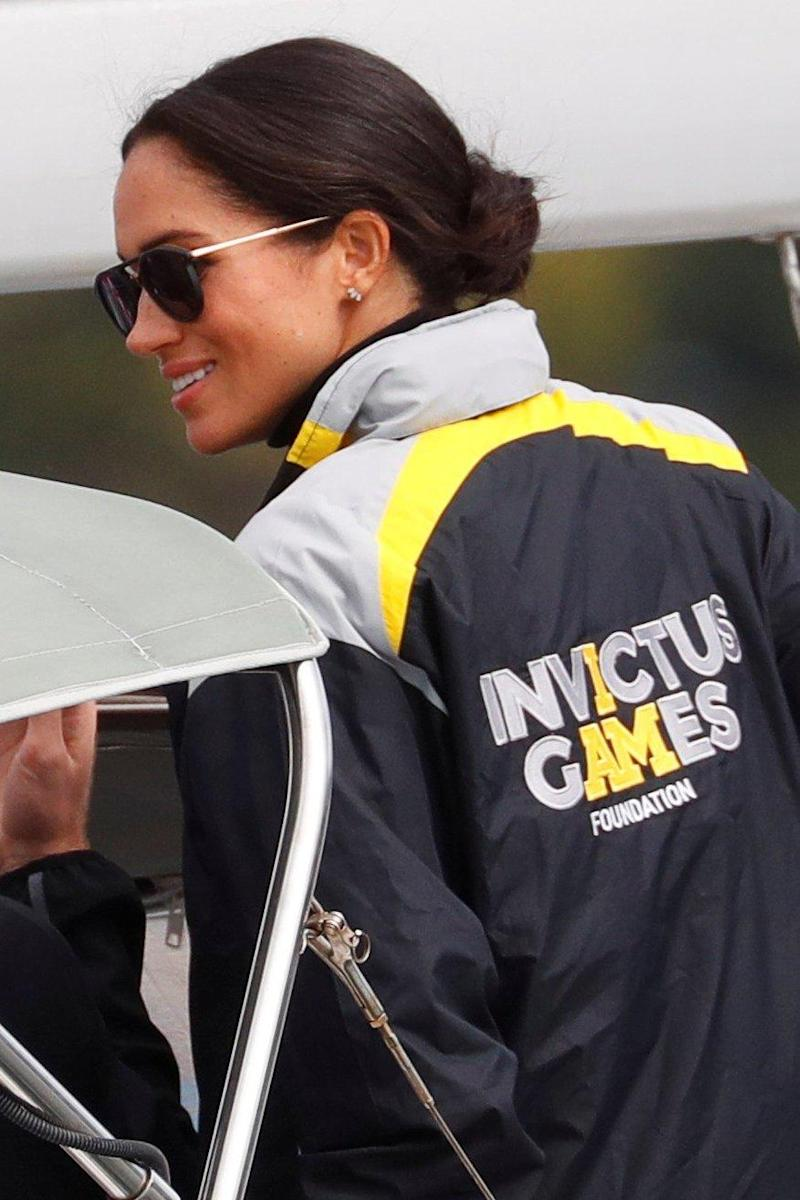 Meghan watches the sailing event of the Invictus Games on Sunday (REUTERS)