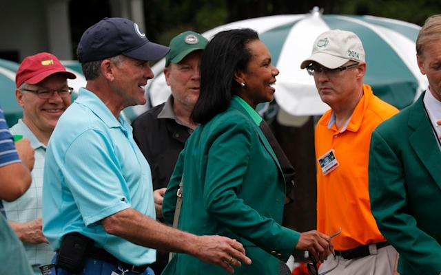 <span>Former U.S Secretary of State Condoleeza Rice walks through the the crowd at Augusta </span> <span>Credit: Reuters  </span>