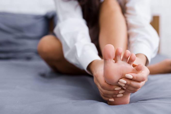 """<p>Usually, DVT pain comes as a combo with other symptoms like swelling or redness, but sometimes it can stand alone. </p><p>""""Unfortunately, pain from a blood clot can easily be mistaken for a muscle cramp or strain, which is why the issue often goes undiagnosed and is specifically dangerous,"""" says Dr. Navarro. </p><p>DVT pain tends to strike when you're walking or when you flex your foot upward. <a href=""""https://www.prevention.com/health/a20515838/what-causes-leg-cramps-at-night/"""" rel=""""nofollow noopener"""" target=""""_blank"""" data-ylk=""""slk:If you have a charley horse"""" class=""""link rapid-noclick-resp"""">If you have a charley horse</a> you can't seem to shake—especially if the skin near it is warm or discolored—have your doctor take a look.</p>"""
