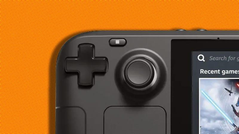 A close-up of the left thumbstick of the Steam Deck.