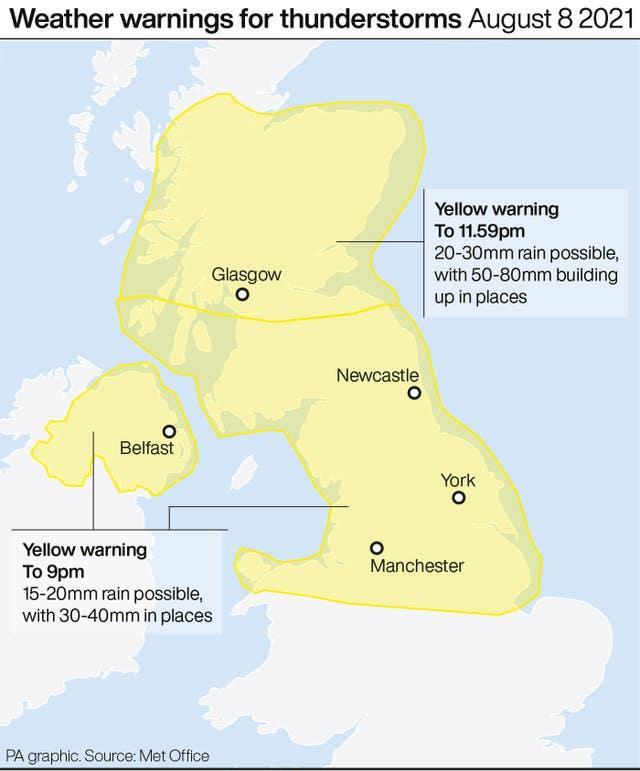 Weather warnings for thunderstorms