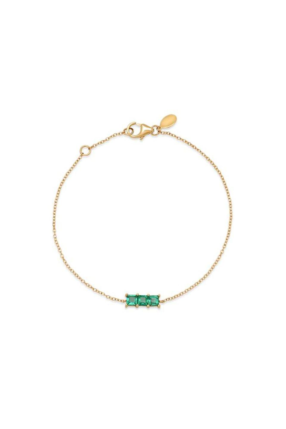 """<p><strong>Eriness</strong></p><p>eriness.com</p><p><strong>$850.00</strong></p><p><a href=""""https://eriness.com/collections/bracelets/products/triple-emerald-princess-cut-bracelet"""" rel=""""nofollow noopener"""" target=""""_blank"""" data-ylk=""""slk:Shop Now"""" class=""""link rapid-noclick-resp"""">Shop Now</a></p><p>There's nothing better than an eye-catching gem, especially when it's on a sleek vintage chain. </p>"""