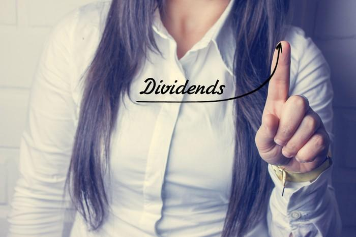 A woman using her finger to draw an upward line in the air and the word dividends above it