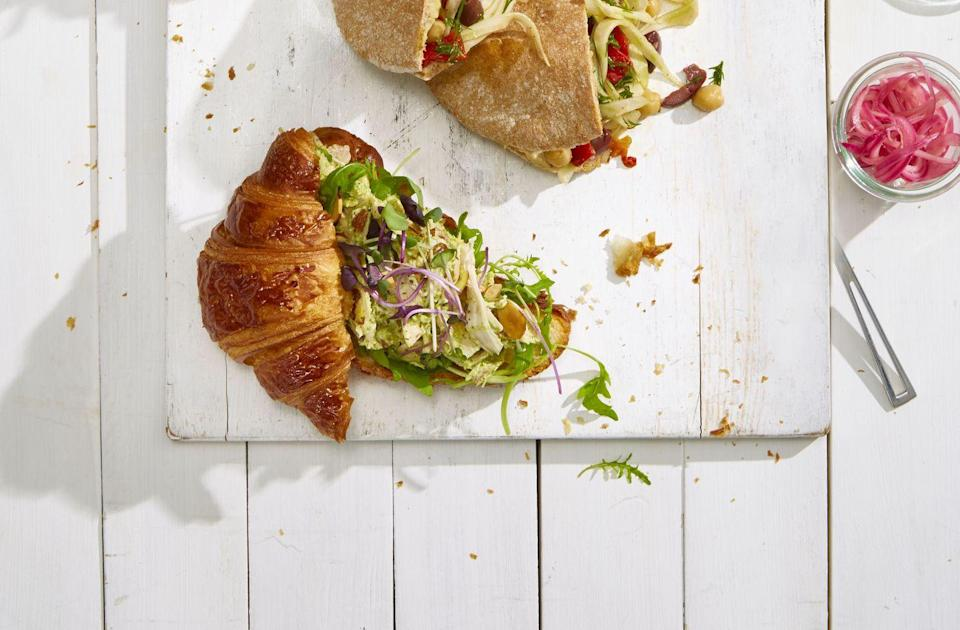 "<p>Chicken salad is good, but pesto chicken salad is <em>great</em>. Try it on a croissant and you may never go back to the original.</p><p><em><a href=""https://www.goodhousekeeping.com/food-recipes/easy/a21752098/pesto-chicken-salad-croissants-recipe/"" rel=""nofollow noopener"" target=""_blank"" data-ylk=""slk:Get the recipe for Pesto Chicken Salad Croissants »"" class=""link rapid-noclick-resp"">Get the recipe for Pesto Chicken Salad Croissants »</a></em></p>"