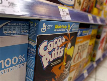 General Mills cereals are displayed on a market's shelf in New York