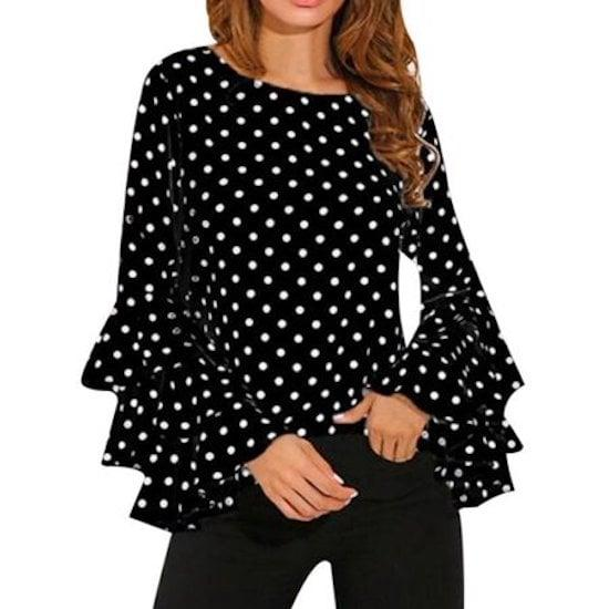 "<p>We love the sleeves on this <a href=""https://www.popsugar.com/buy/Oumy-Polka-Dot-Blouse-492727?p_name=Oumy%20Polka%20Dot%20Blouse&retailer=walmart.com&pid=492727&price=13&evar1=fab%3Aus&evar9=46368466&evar98=https%3A%2F%2Fwww.popsugar.com%2Ffashion%2Fphoto-gallery%2F46368466%2Fimage%2F46369057%2FOumy-Polka-Dot-Blouse&list1=shopping%2Cfall%20fashion%2Cwalmart%2Ctops%2Cshirts%2Csummer%20fashion&prop13=mobile&pdata=1"" rel=""nofollow"" data-shoppable-link=""1"" target=""_blank"" class=""ga-track"" data-ga-category=""Related"" data-ga-label=""https://www.walmart.com/ip/OUMY-Women-Trumpet-Long-Sleeve-Polka-Dots-Blouse-Tops-Plus-Size/120670557"" data-ga-action=""In-Line Links"">Oumy Polka Dot Blouse</a> ($13).</p>"