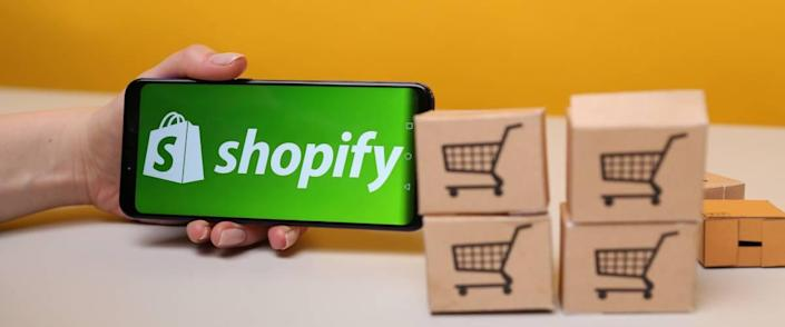 Shopify on the phone display.
