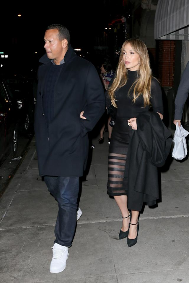 <p>They were spotted a few days later in matching black ensembles. (Photo: AKM-GSI) </p>