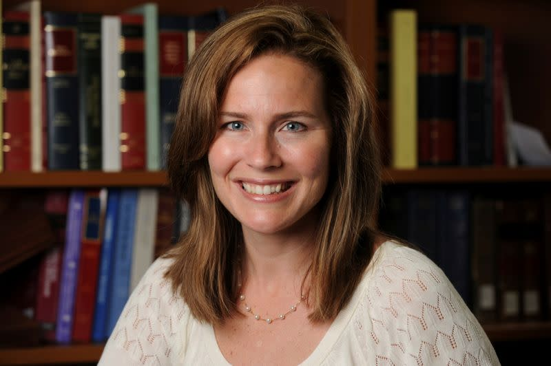 FILE PHOTO: Judge Amy Coney Barrett poses in an undated photograph obtained from Notre Dame University