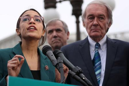Ocasio Cortez and Senator Ed Markey hold a news conference for their proposed