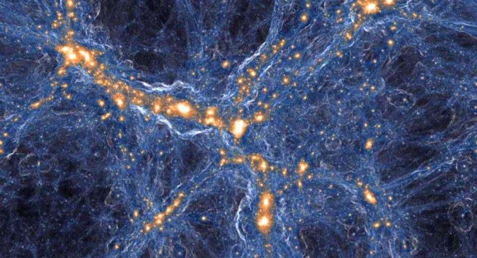Visualisation of the intensity of shock waves in cosmic gas. Pic: IllustrisTNG collaboration