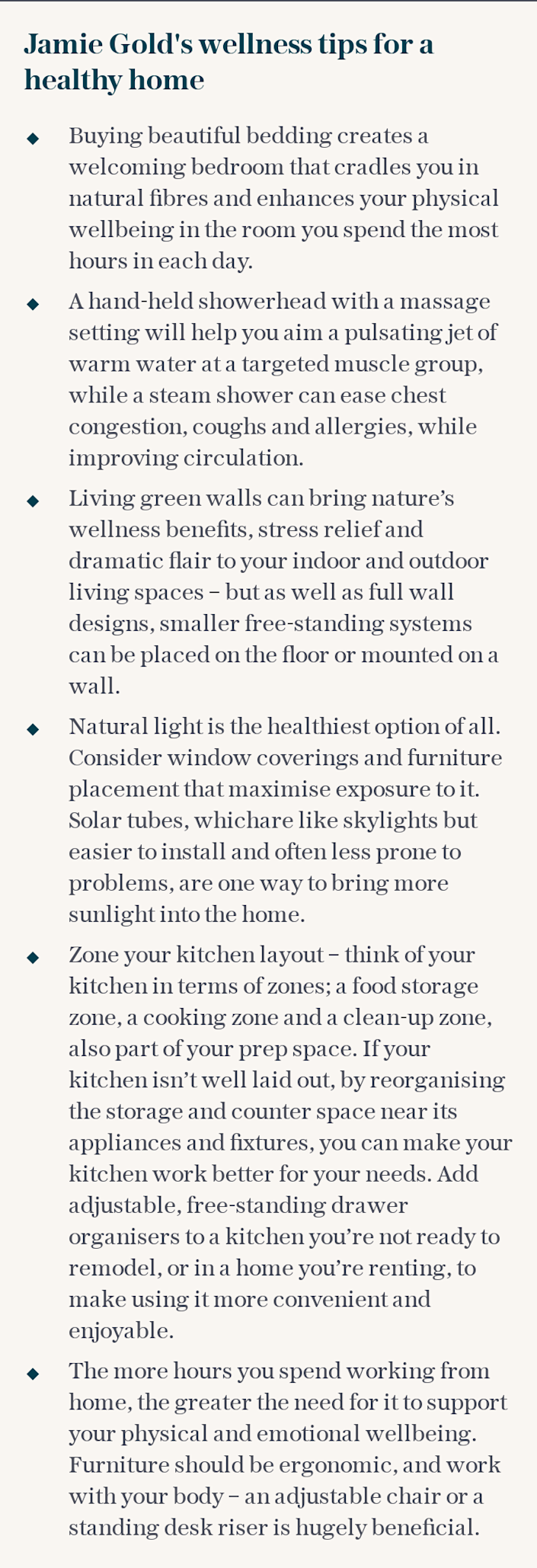 Jamie Gold's wellness tips for a healthy home