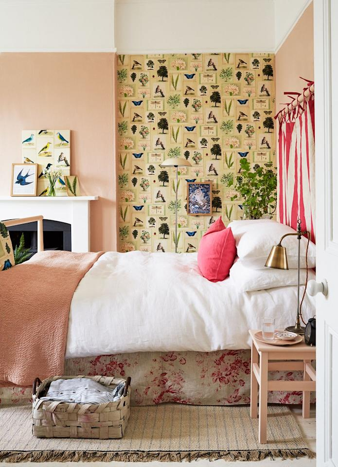 """<p>This bedroom is so much more than a bedroom—it's an experience. The statement wall is animated by DIY wallpaper and coordinates beautifully with the prints propped up on the mantle while the custom headboard brings a pop of graphics and color, both complementing and contrasting with the toile bedskirt, and the blush pink walls and painted chair as a makeshift side table balance everything out. </p><p><em>Check out <a href=""""https://www.etsy.com/"""" target=""""_blank"""">Etsy</a> for shabby chic bedroom finds, and shop our pick below: </em></p><p><a class=""""body-btn-link"""" href=""""https://go.redirectingat.com?id=74968X1596630&url=https%3A%2F%2Fwww.etsy.com%2Flisting%2F269176855%2Fvintage-audubon-sea-birds-print-set-no-2&sref=http%3A%2F%2Fwww.housebeautiful.com%2Froom-decorating%2Fbedrooms%2Fg27196485%2Fshabby-chic-bedroom-ideas%2F"""" target=""""_blank"""">BUY NOW</a> <strong><em>Vintage Audubon Sea Birds Print, $40</em></strong></p>"""