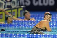 Allison Schmitt reacts after winning her heat in the Women's 200 Freestyle during wave 2 of the U.S. Olympic Swim Trials on Tuesday, June 15, 2021, in Omaha, Neb. (AP Photo/Jeff Roberson)