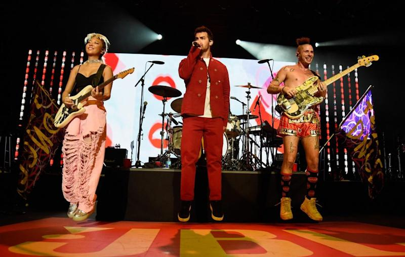 Bonnie Tyler was joined by DNCE for the hit performance on the cruise. Source: Getty