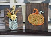 "<p>Although the final product may look complicated, you can accomplish this <a href=""https://hip2save.com/2017/09/11/easy-diy-string-art-fun-fall-project/"" rel=""nofollow noopener"" target=""_blank"" data-ylk=""slk:string art"" class=""link rapid-noclick-resp"">string art</a> by printing out the shape you want to make, using mini nails to make pegs in the board, and weaving colored string on the pegs to bring your shape to life.</p><p><a class=""link rapid-noclick-resp"" href=""https://personalgiftsetc.com/collections/craft-supplies/products/8pc-embroidery-floss-set"" rel=""nofollow noopener"" target=""_blank"" data-ylk=""slk:BUY NOW"">BUY NOW</a> <em><strong>Embroidery floss, $1.50</strong></em></p>"