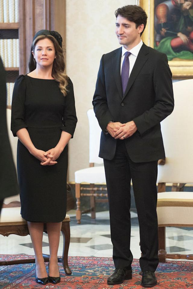 <p><strong>When: May 29, 2017 </strong><br />While meeting Pope Francis in Vatican City, Sophie opted for a sleek black Editions de Robe midi dress, Ron White pumps and a matching black hat by Lilliput Hats. <em>(Photo: Getty)</em> </p>