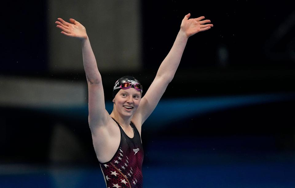 Lydia Jacoby celebrates after winning the women's 100-meter breaststroke final during the Tokyo Olympics.