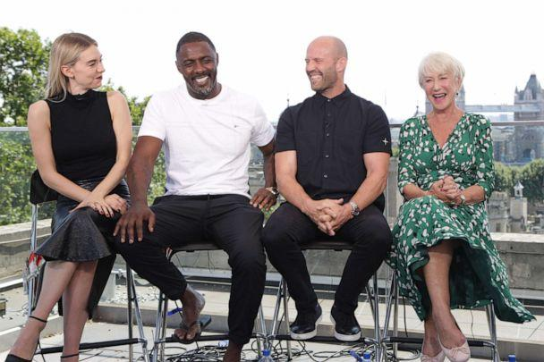 PHOTO: Kirby, Elba, Statham and Mirren dish on the new 'Hobbs and Shaw' film during an interview with 'GMA' in London. (Lesley Hauler/ABC News)
