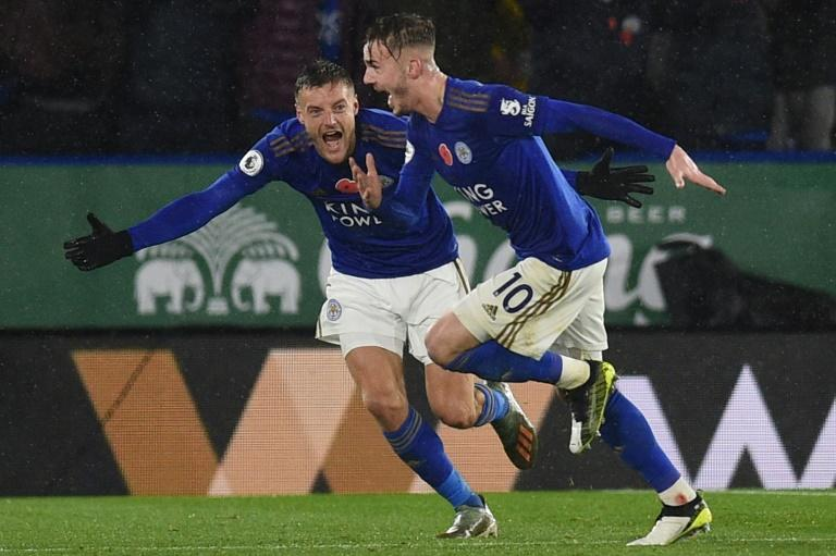 Flying Foxes: Jamie Vardy (left) and James Maddison (right) scored in Leicester's 2-0 win over Arsenal