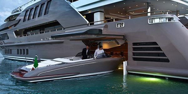 "<p>The yacht stores an eight-metre speedboat in a ""garage"" without having to hoist it out of the water.</p>"