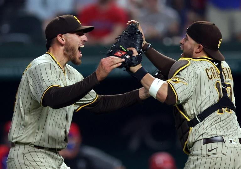 Joe Musgrove celebrates with Victor Caratini after pitching a no-hitter against the Texas Rangers
