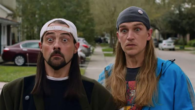 Kevin Smith and Jason Mewes return to their most famous roles in 'Jay and Silent Bob Reboot'. (Credit: Saban Films)