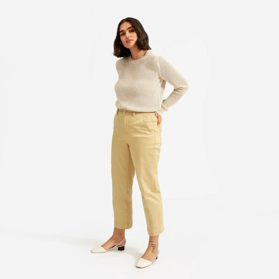 "<br><br><strong>Everlane</strong> The Mesh Soft Cotton Crew, $, available at <a href=""https://www.everlane.com/products/womens-mesh-soft-cotton-crew-praline"" rel=""nofollow noopener"" target=""_blank"" data-ylk=""slk:Everlane"" class=""link rapid-noclick-resp"">Everlane</a>"