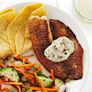 <p>These delicious fish tacos are a great choice when you need a dinner in under 30 minutes. The tilapia fillets are seasoned with a blend of cumin and chili powder, blackened in a skillet, topped with a scrumptious chipotle-cilantro yogurt sauce and served with warmed corn tortillas.</p>