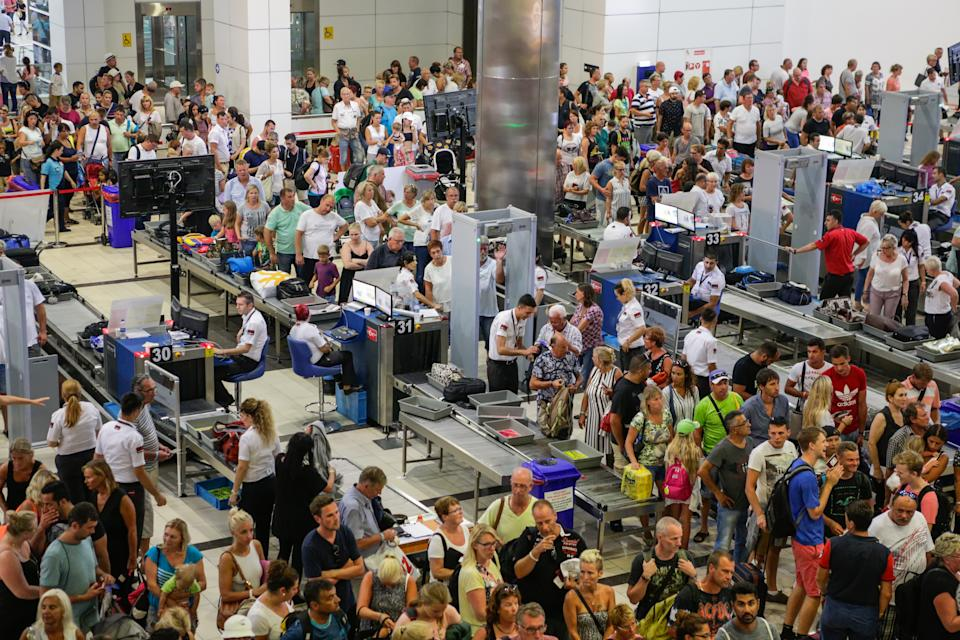 Antalya, Turkey - September 10, 2016: Security and passport control at Antalya International Airport, Turkey.