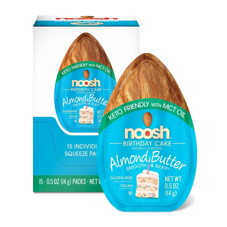 "<p>These <a href=""https://www.popsugar.com/buy/Noosh-Keto-Birthday-Cake-Almond-Butter-Packets-479292?p_name=Noosh%20Keto%20Birthday%20Cake%20Almond%20Butter%20Packets&retailer=amazon.com&pid=479292&price=18&evar1=fit%3Aus&evar9=46493750&evar98=https%3A%2F%2Fwww.popsugar.com%2Ffitness%2Fphoto-gallery%2F46493750%2Fimage%2F46493894%2FNoosh-Keto-Birthday-Cake-Almond-Butter-Packets&list1=shopping%2Camazon%2Chealthy%20snacks%2Csnacks%2Clow-carb%2Cketo%20diet&prop13=api&pdata=1"" rel=""nofollow"" data-shoppable-link=""1"" target=""_blank"" class=""ga-track"" data-ga-category=""Related"" data-ga-label=""https://www.amazon.com/NOOSH-Almond-Butter-Birthday-Count/dp/B07B2M5BRW/ref=sr_1_81?crid=HM03H6XAJJ9T&amp;keywords=keto+snacks&amp;qid=1565708969&amp;s=gateway&amp;sprefix=keto+sn%2Caps%2C140&amp;sr=8-81"" data-ga-action=""In-Line Links"">Noosh Keto Birthday Cake Almond Butter Packets</a> ($18 for 15) are *almost* too good to be true.</p>"