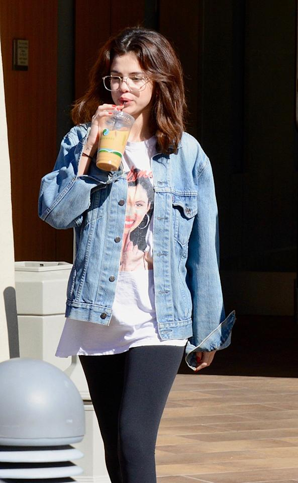 "<p>The Biebs's main squeeze stepped out for a coffee pick-me-up on Thursday, wearing a shirt with the likeness of her namesake, Selena Quintanilla. ""My name was going to be Priscilla, but my cousin actually took the name when she was born six months before me,"" Gomez said in an interview in 2016. ""[My parents] actually loved [Selena's] music, so they just named me after her."" (Photo: Luis/BackGrid) </p>"